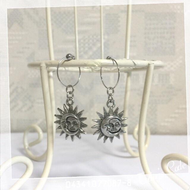 月と太陽のイヤリング♪