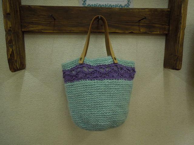 ヌメ革持ち手の麻ひもバッグ ☆青&紫