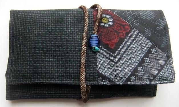 着物リメイク 藍大島と色大島紬で作った和風財布 207
