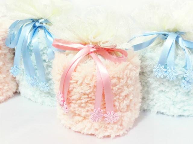 覆い袋( 骨壷袋 ) 骨壷セット 3寸(約11cm) ふわもこ ピンク