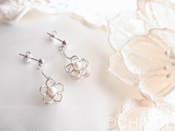 【再販】お花の淡水パールピアス/SV925