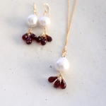 redgarnet pearl pierce necklace set[kgf0196]