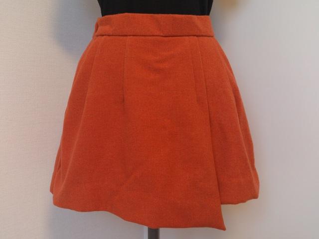 巻きスカート風ミニスカート(オレンジ)