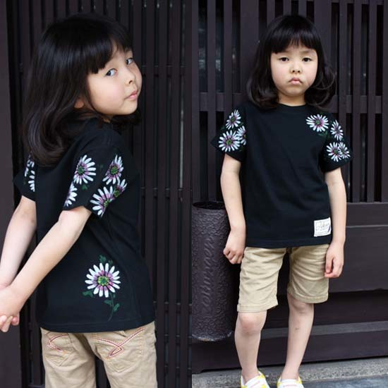 【JIKUU】 手描き友禅/キッズTシャツ『ガーベラ』