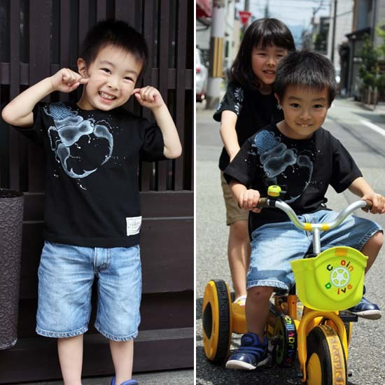 【JIKUU】 手描き友禅/キッズTシャツ『クワガタ』