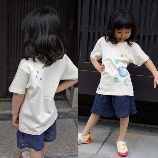 【JIKUU】 手描き友禅/キッズTシャツ『たんぽぽ』