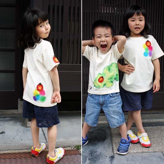 【JIKUU】 手描き友禅/キッズTシャツ『レインボーテントウムシ』