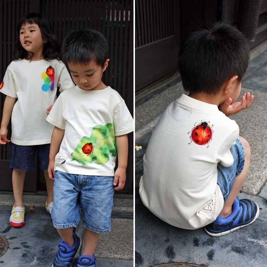 【JIKUU】 手描き友禅/キッズTシャツ『蓮の葉テントウムシ』