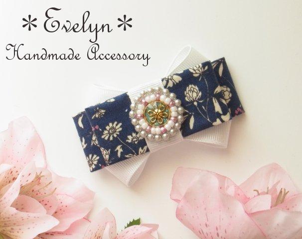 【再販】ビーズ刺繍とスクエアリボンのバレッタorクリップ:紺