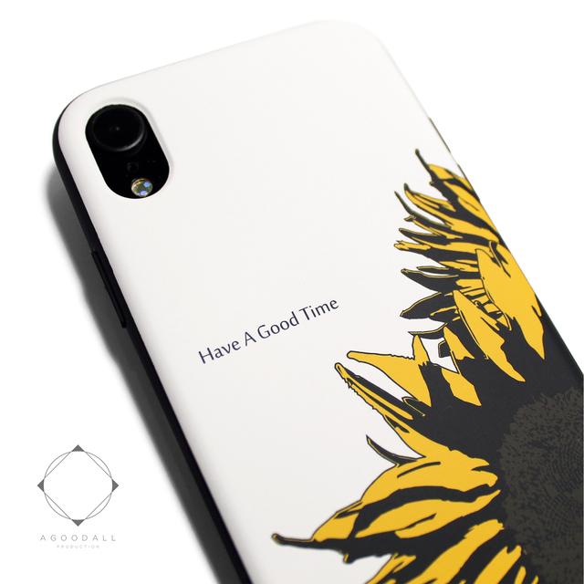 ea8d3b73bb iphoneXRケース / iphoneXRカバー 軽量レザーケース アイフォンXRカバー(ホワイト×ブラック)ひまわり向日葵 アイフォンXR
