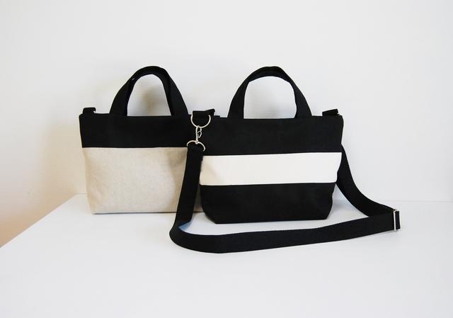 6a194580273b 受注製作】2way 帆布のシンプルなリバーシブルミニトートバッグ(黒 ...