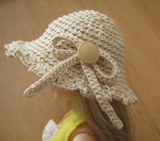 【SALE】ストローハット風ドール用のお帽子【夏祭り♪】