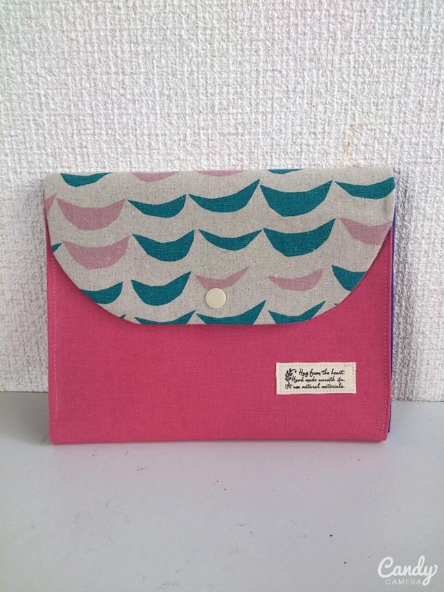 ナミノリ×綿麻ピンク母子手帳ケースマルチケース