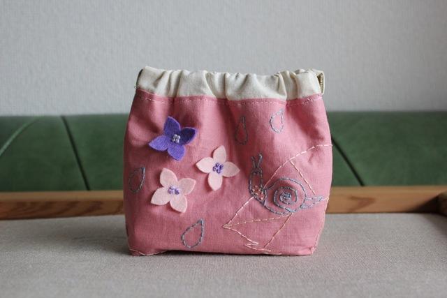 《SALE2000円→1600円》全面刺繍のアジサイバネ口ポーチ