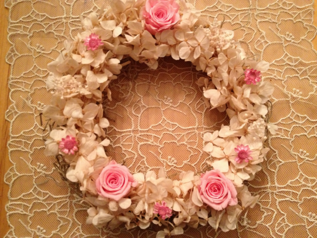サマーリース?ヌードピンクの紫陽花リース