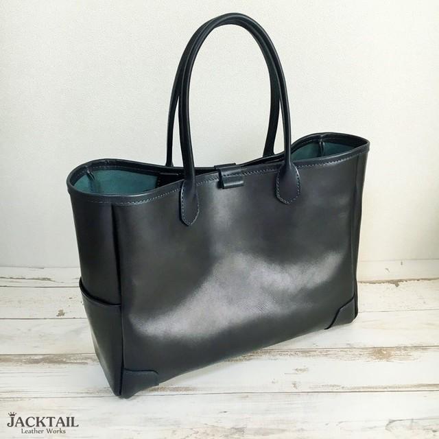 45757463af48 【送料無料】トートバッグ/シンプルなデザインの革バッグ オイルレザー 牛革(ネイビー)【受注製作】