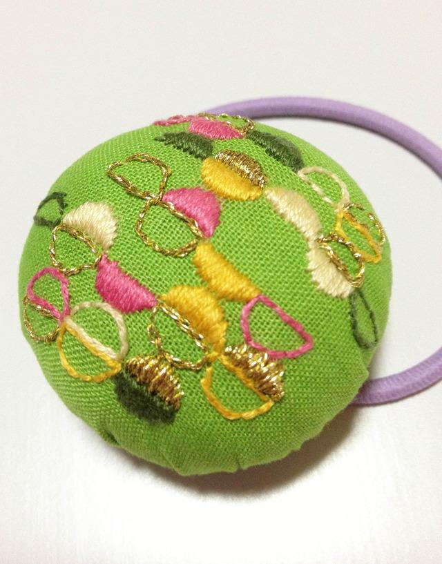 再販*半円モチーフ刺繍のヘアゴム