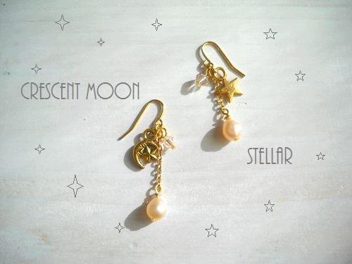 Crescent&stellar pierced earrings