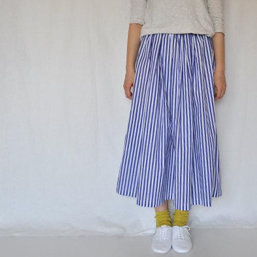 ストライプギャザープリーツスカート (order)
