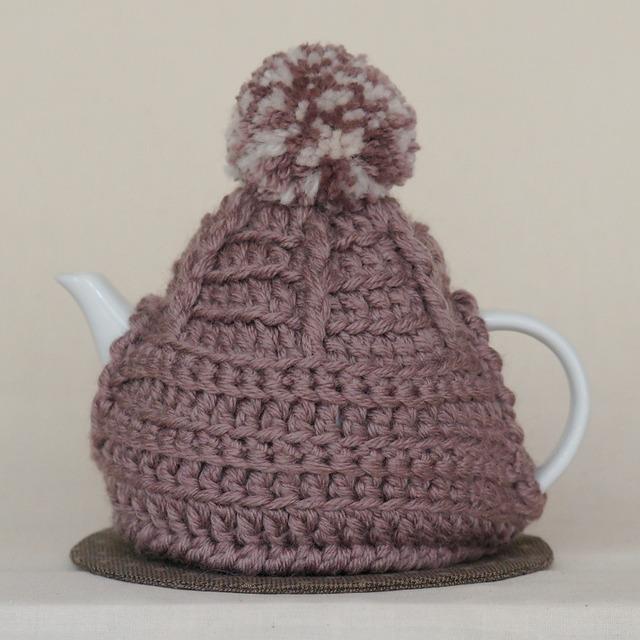 小人の帽子のティーコージー【Brown Olive × White】
