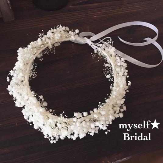 Bridal プリザーブドフラワーのかすみ草花冠