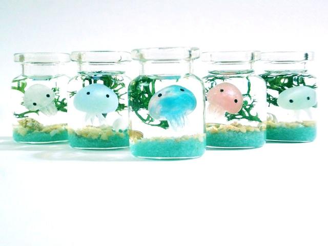 K様(オーダー品)くらげちゃん ぷちアクアリウムSサイズ コルクガラスボトル
