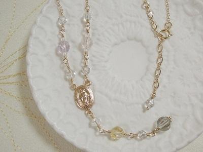 4種の宝石質天然石のY字ネックレス