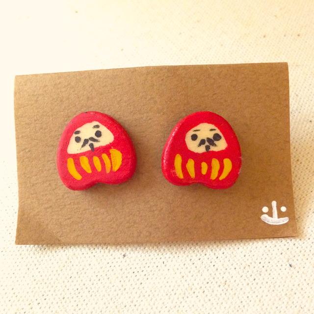 木製だるまピアス(赤)