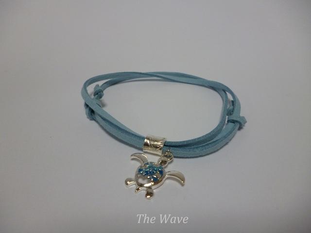 <再販>Silverチューブとホヌの紐ブレス Blue