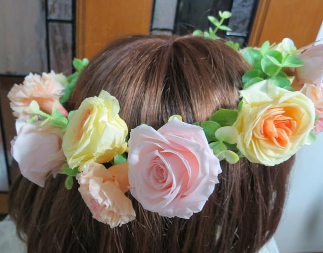プリ*花かんむり ピンク×黄×オレンジ