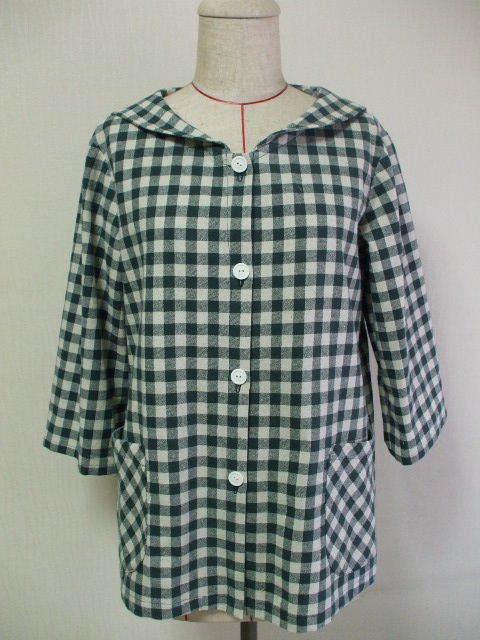 セーラー衿ジャケット7〜8分丈袖 M〜L 緑×生成りチェック柄