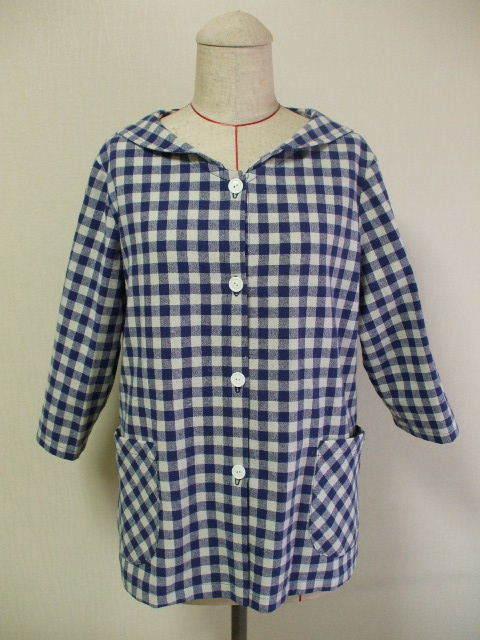 セーラー衿ジャケット7〜8分丈袖 M〜L 青×生成りチェック柄