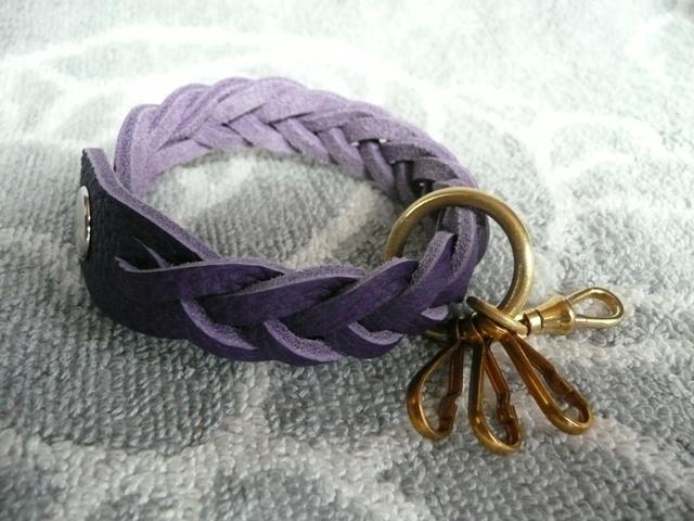真鍮パーツのマジック編みキーホルダー(トリヨン紫)new!