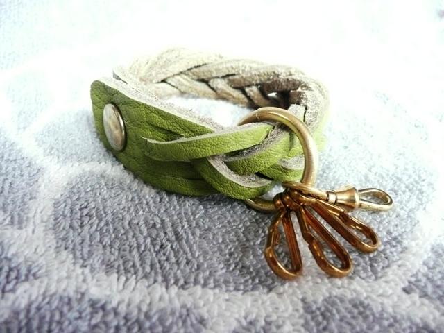 真鍮パーツのマジック編みキーホルダー(トリヨン緑)new!