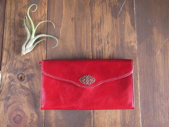 【受注製作】夕焼けよりも紅い、ひし形フィリグリーの長持ち長財布