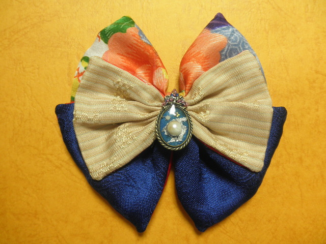 バレッタ「真珠」(沖縄織物&古布友禅&ペイズリー)