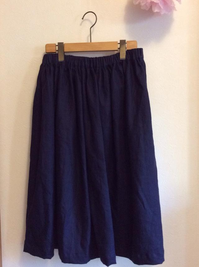 リネン ネイビーギャザースカート for women S-Lサイズ