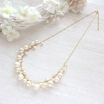 cotton pearl & pearl   mixネックレス
