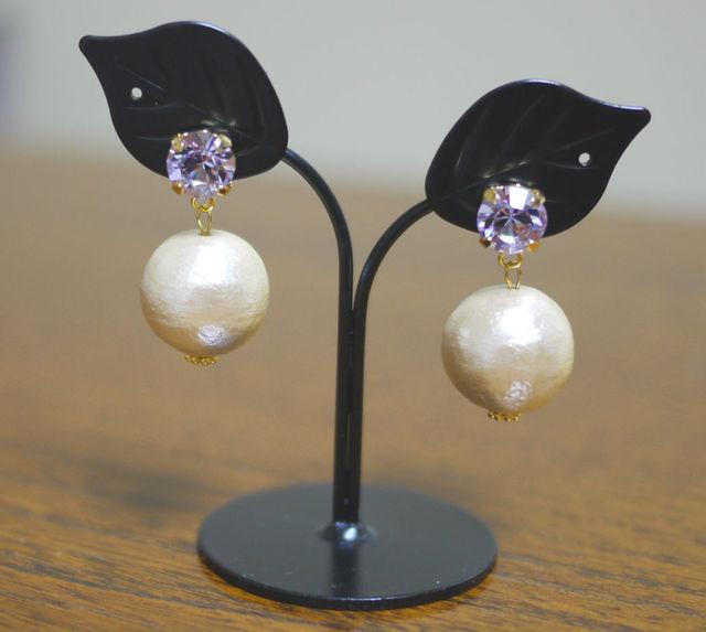大粒コットンパールピアス【Lavender】