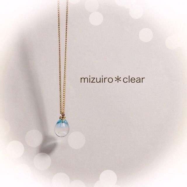 【再販】R-22 一粒のしずく☆ガラス玉のネックレス ブルー