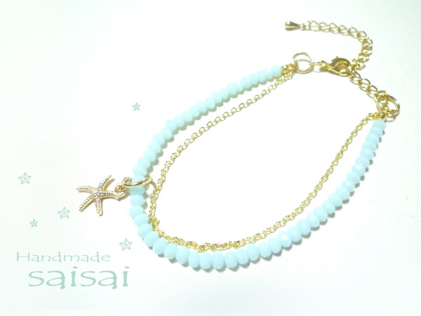 summer blue grass ブレスレット