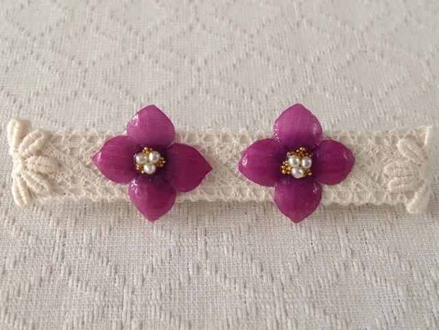 染め花を樹脂加工した紫陽花イヤリング( S・紅紫)