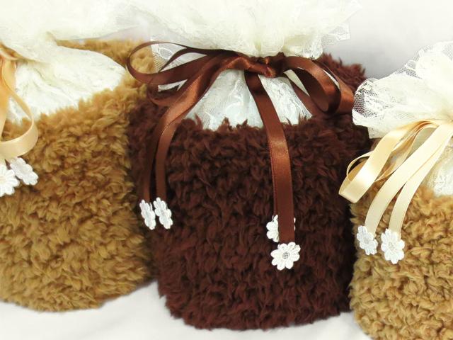 覆い袋( 骨壷袋 ) 骨壷セット 4寸(約14.5cm) ふわもこ ブラウン
