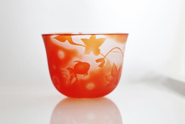 〜fish&flower〜金魚とつるくさ花の冷茶グラス