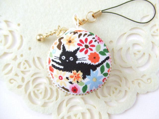 黒猫&花B/マカロンコインケース4cm(マカロンポーチ)ストラップ付