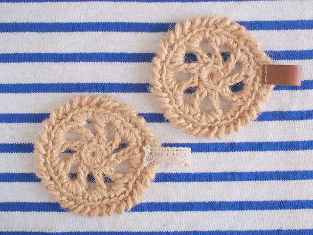 132 麻のかぎ編みコースター(2枚セット)