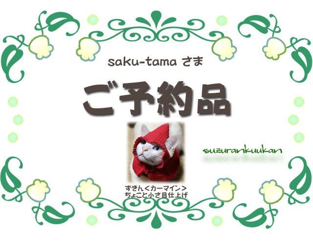 ★ご予約品★【猫用】ずきん<カーマイン>ちょこっと小さ目仕上げ