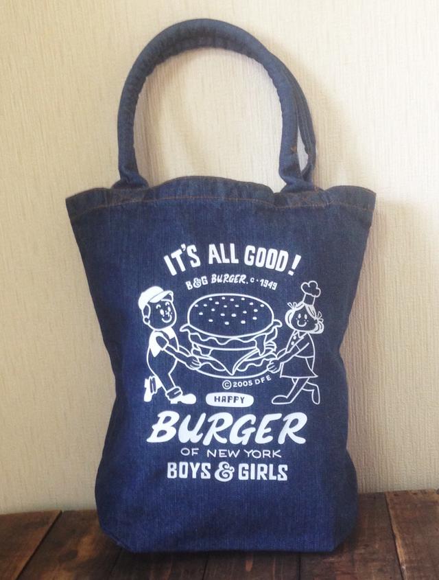 【再販】ハンバーガー&BOY&GIRL ウォッシュデニムトートバック M【受注生産品】
