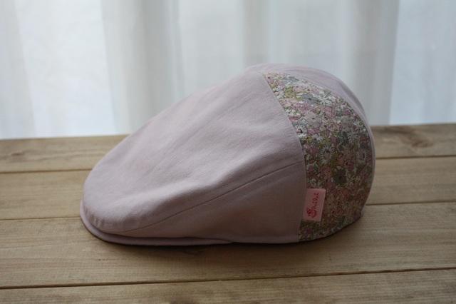 ハンチング(サイズ52)スモーキーピンク帆布×リバティ