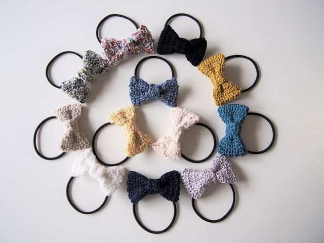 さらっとコットン♪手編みリボンのヘアゴム